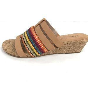 Donald Pliner DARA Wedge Cork Sandal Nubuck Slide